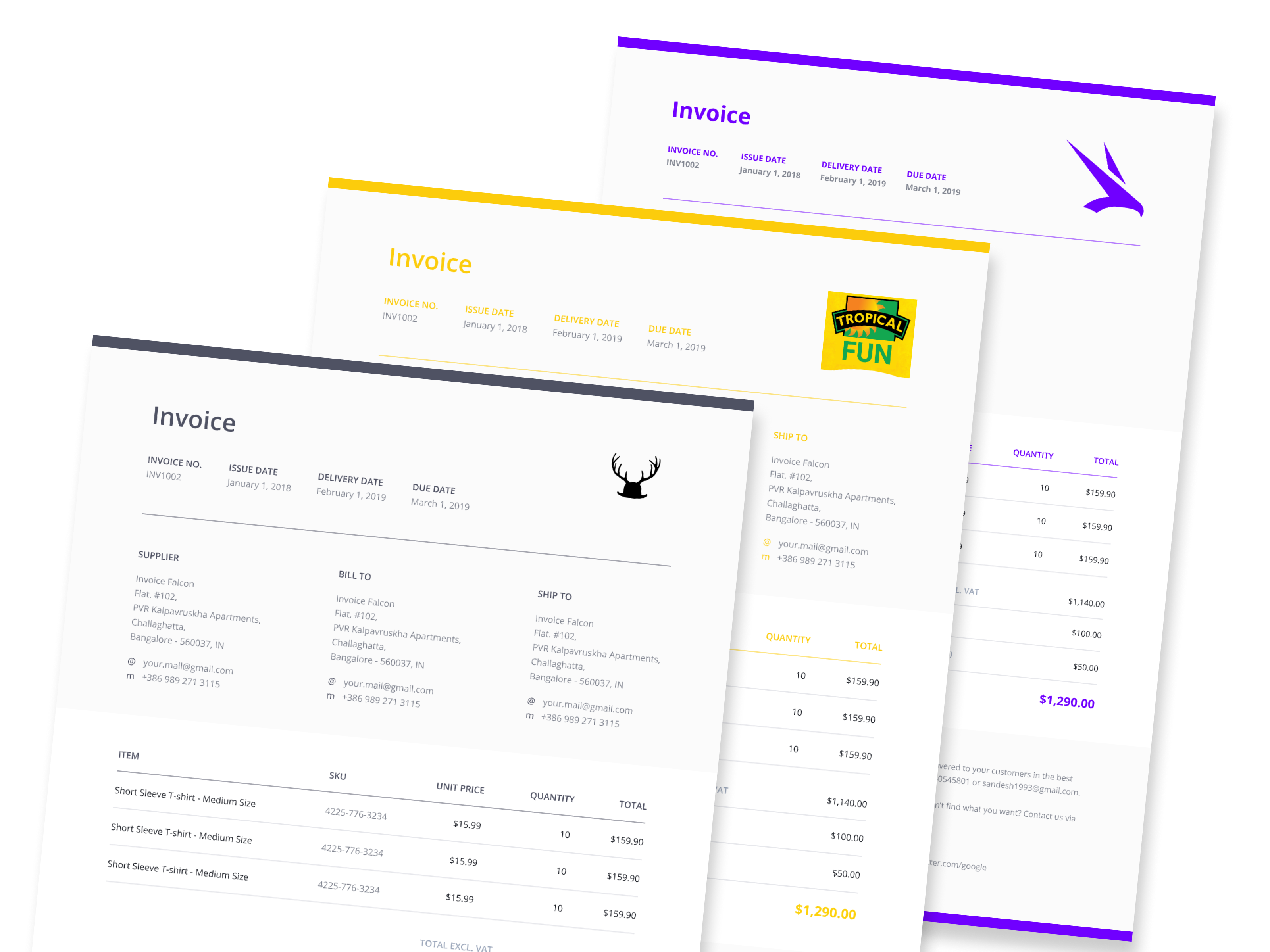 Invoice Falcon banner with invoice samples