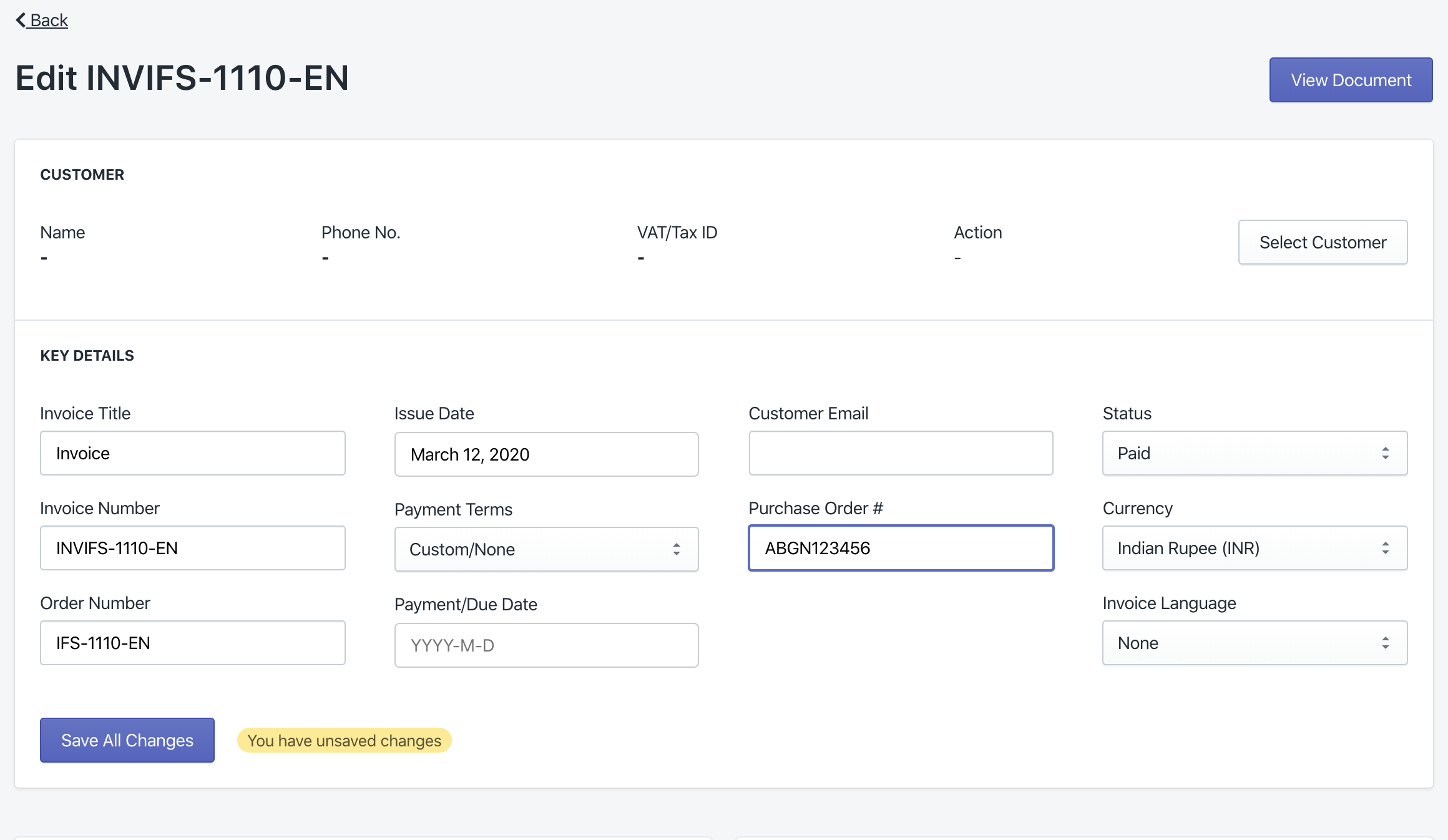 Add a purchase order number to your invoices   Invoice Falcon